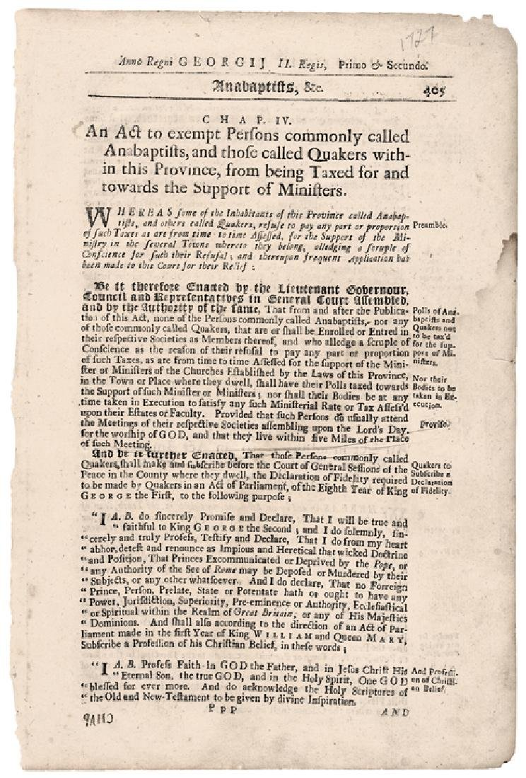 (1727) Historic Massachusetts Act Exempt Quakers