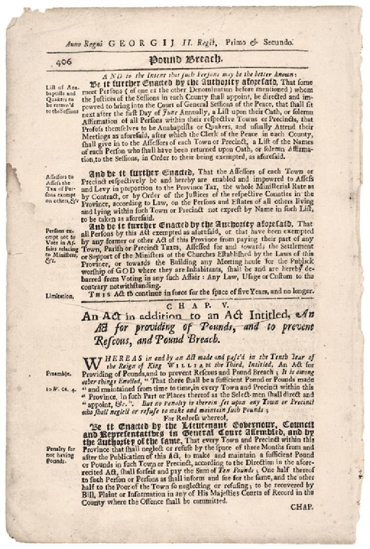 (1727) Historic Massachusetts Act Exempt Quakers - 2
