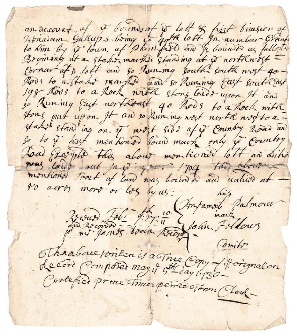 1710 Plainfield Connecticut Land Grant True Copy