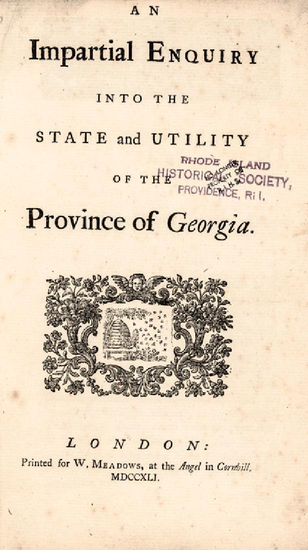 1741 Colonial American Booklet, State of Georgia