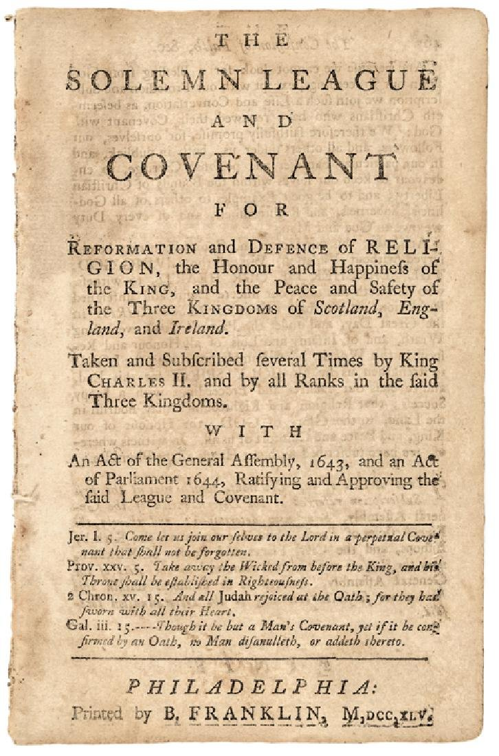 1745 BENJAMIN FRANKLIN Rare Religious Imprint