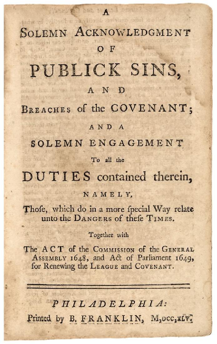 1745 BENJAMIN FRANKLIN Rare Religious Imprint - 4