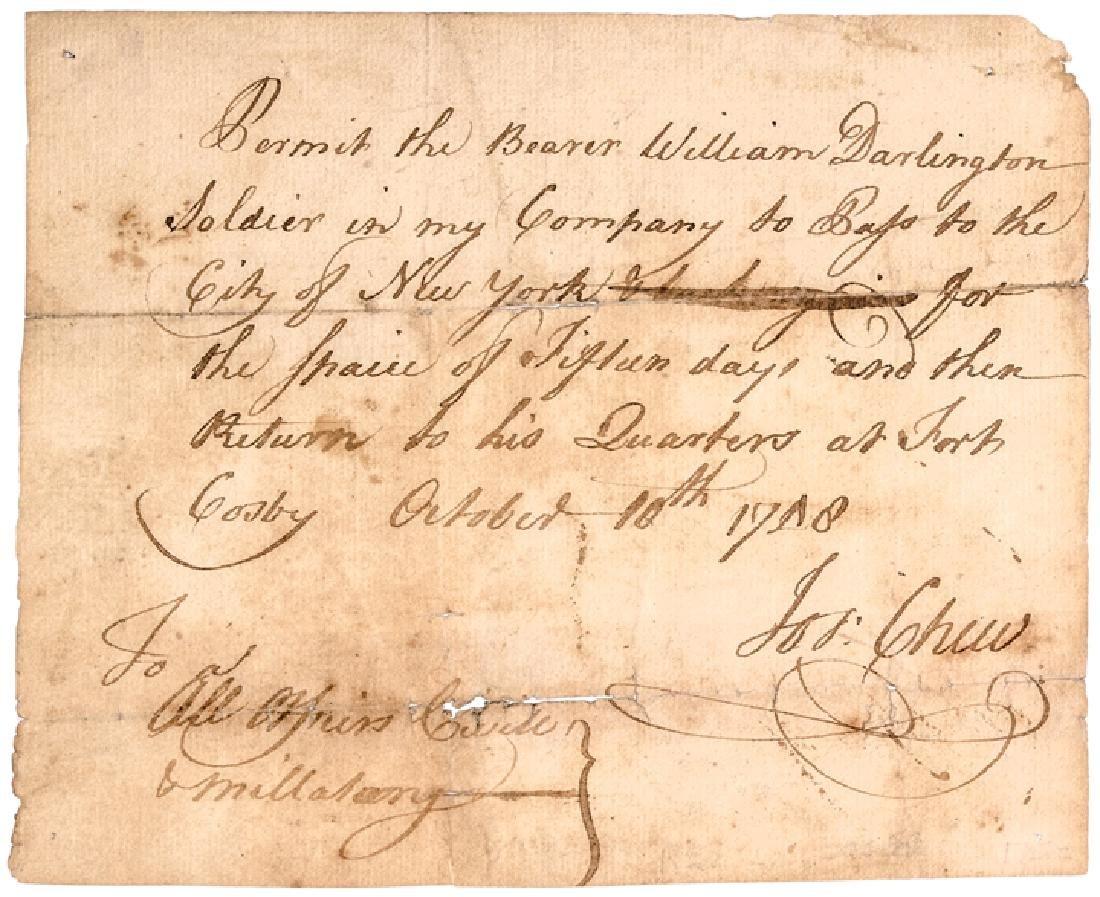 1758 King Georges War Military Pass Thru New York