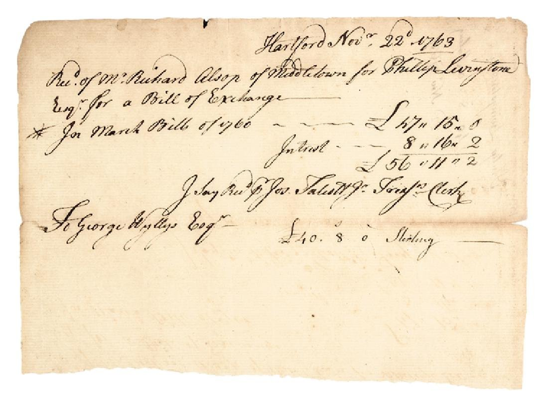 1763 Declaration Signer Philip Livingston Receipt