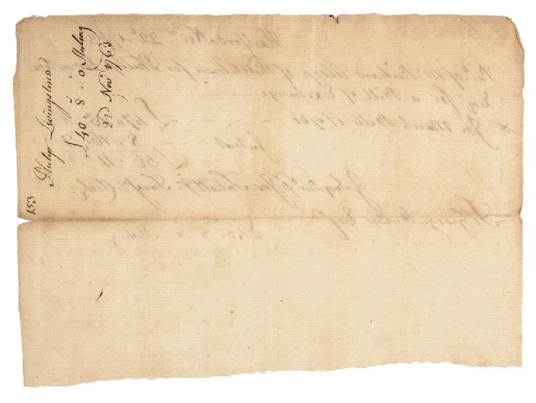 1763 Declaration Signer Philip Livingston Receipt - 2