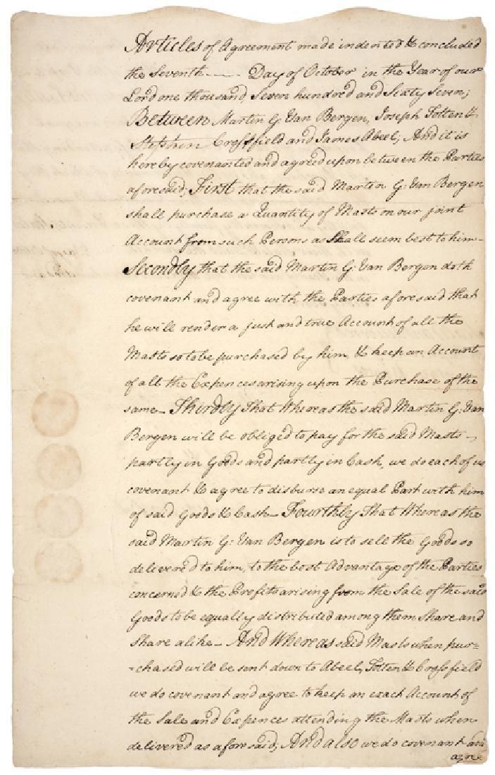 1767 NY Partnership Bond Purchasing Ships Masts
