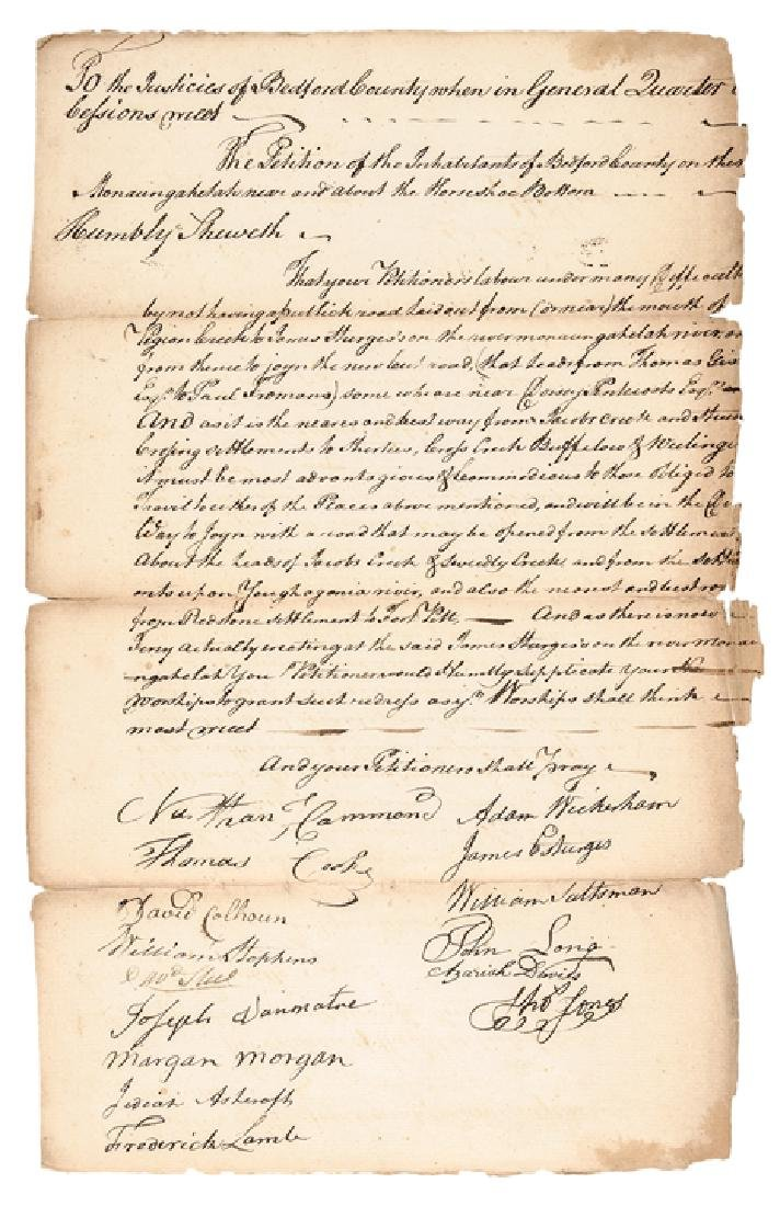 c 1771 Citizens Petition for a Fort Pitt New Road