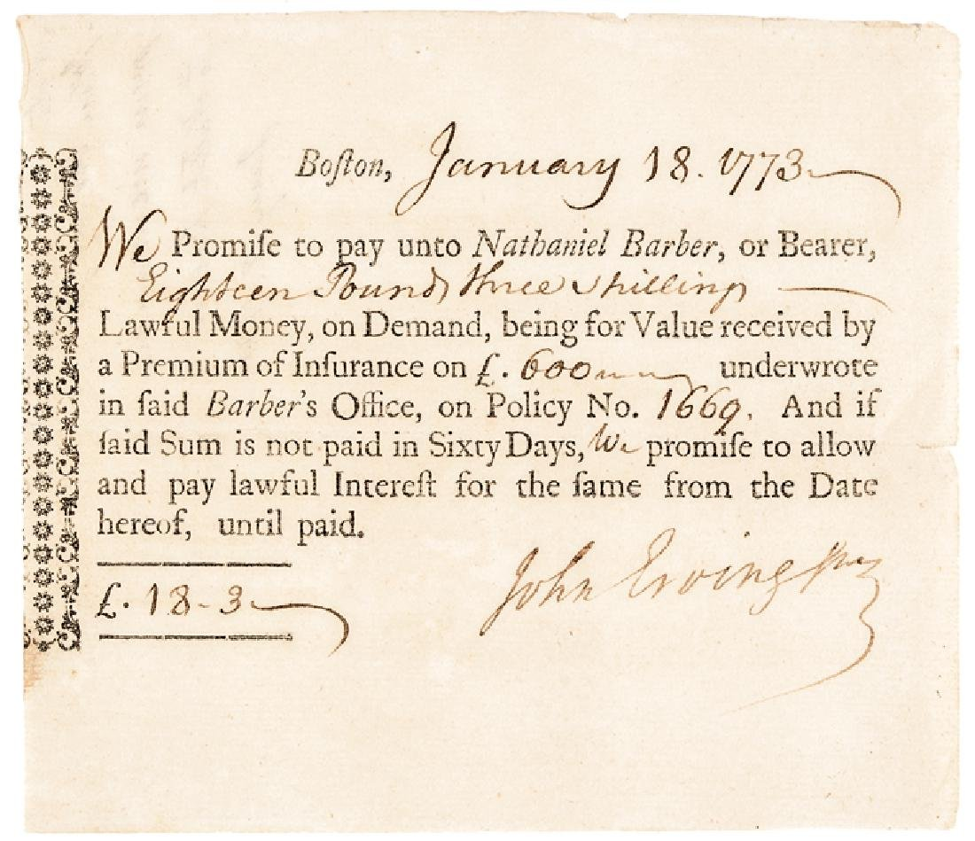 1773 Early American Premium of Insurance Note
