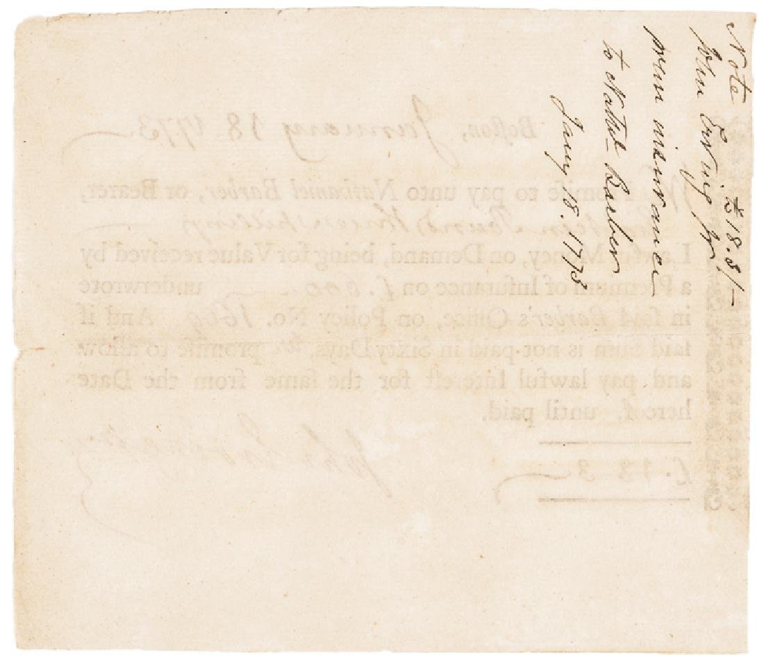 1773 Early American Premium of Insurance Note - 2