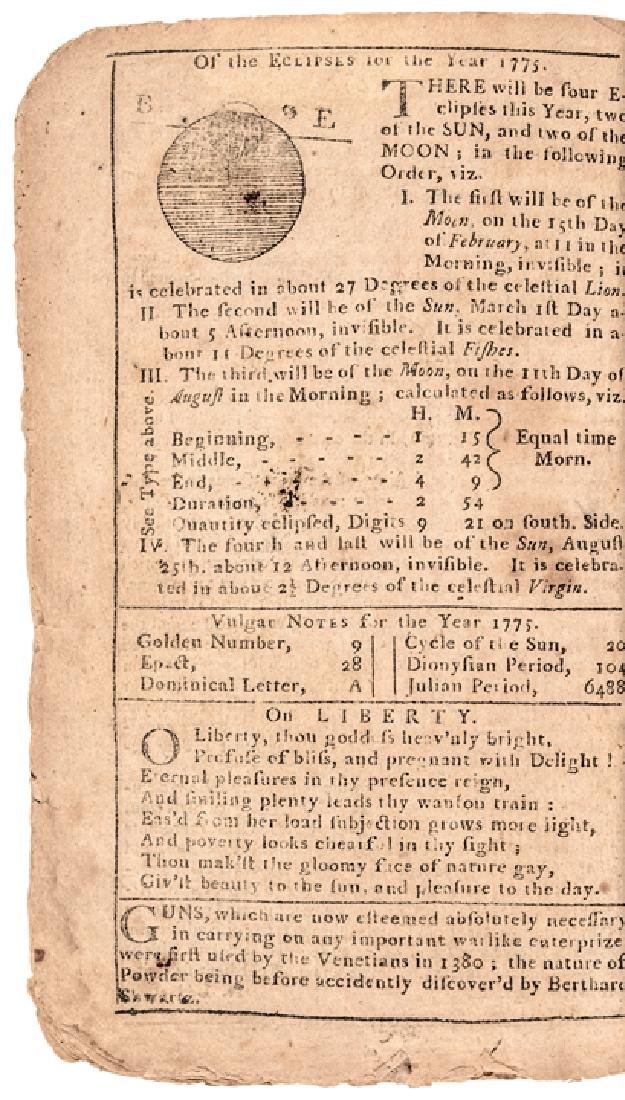 1775 Boston Almanac Patriotic Engraving + Text - 3