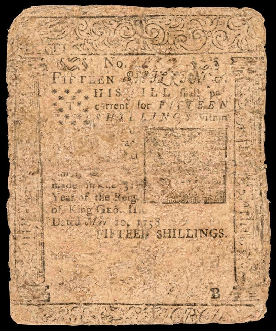 Colonial Currency. PA. May 20, 1758 BEN FRANKLIN