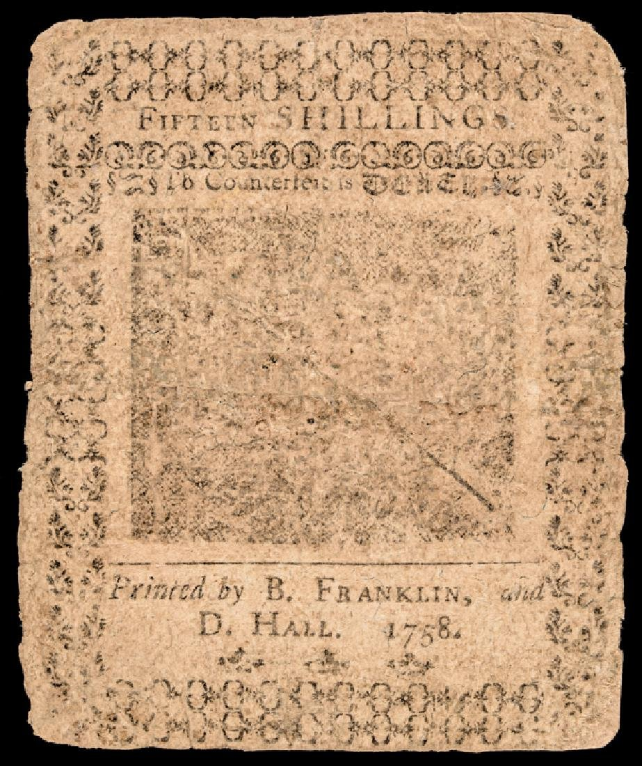 Colonial Currency. PA. May 20, 1758 BEN FRANKLIN - 2