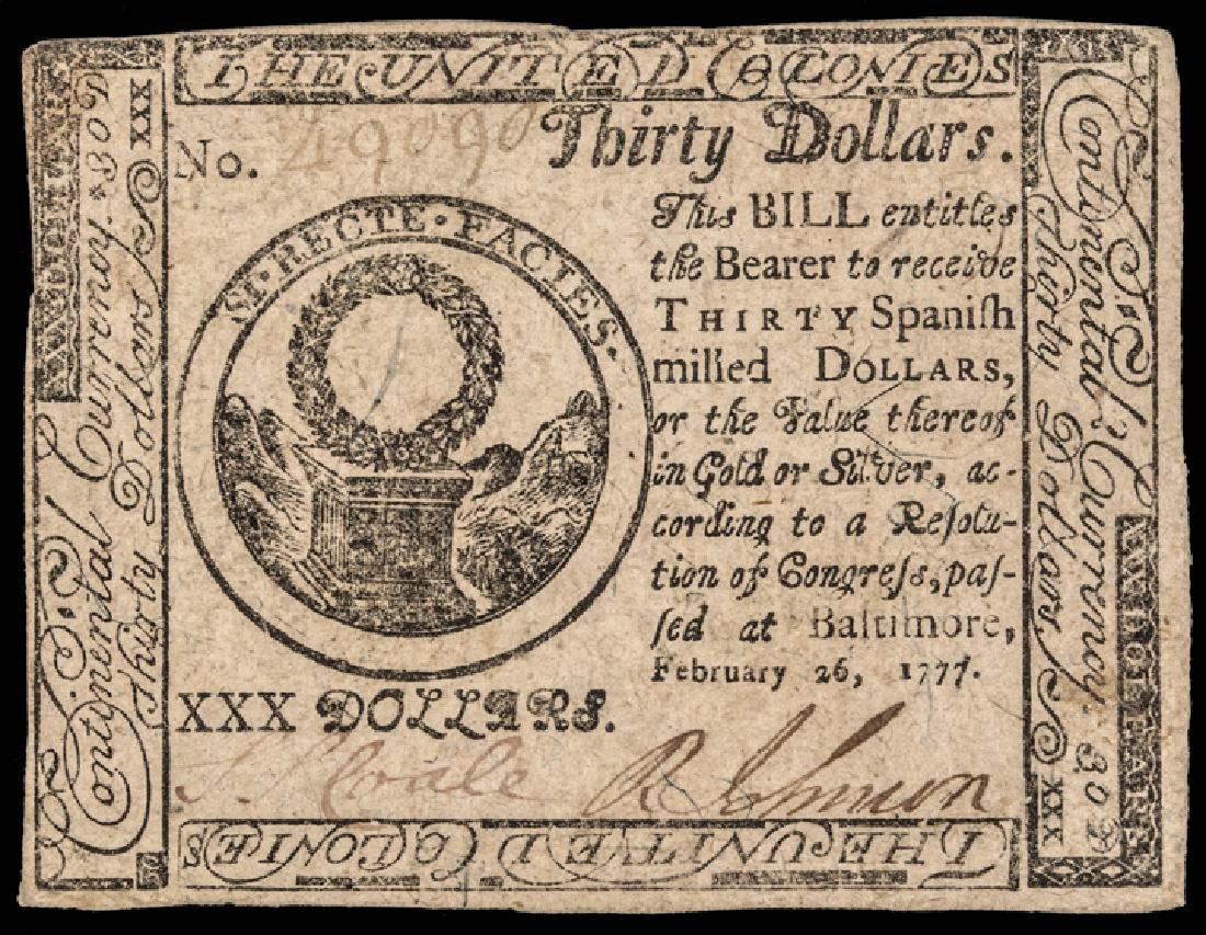 Continental Congress Currency TWO 1777 Notes