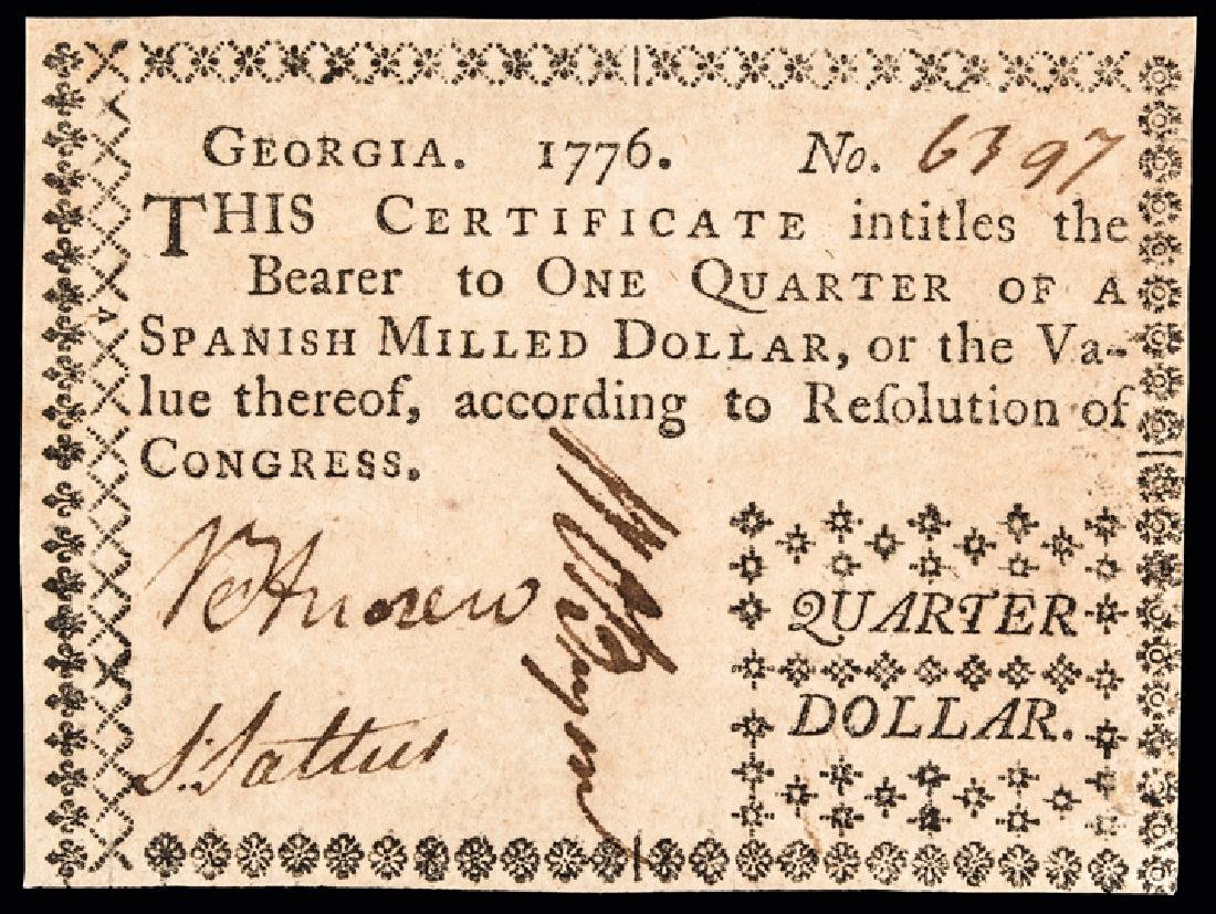 Colonial Currency, GA. 1776 $1/4 Ch. About UNC.