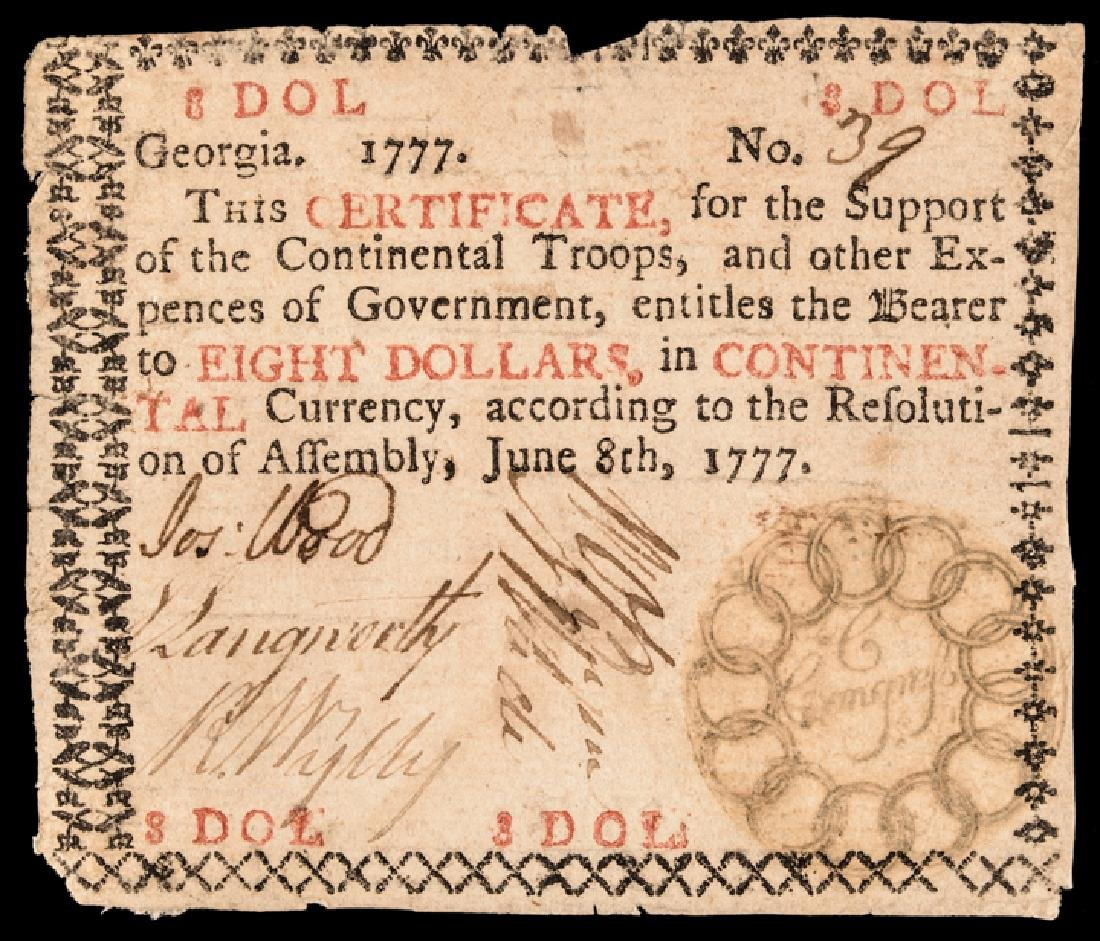 Colonial Currency, GA. June 8, 1777 $8 13 Links!