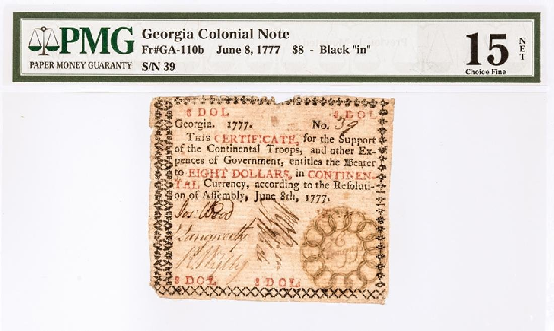 Colonial Currency, GA. June 8, 1777 $8 13 Links! - 3