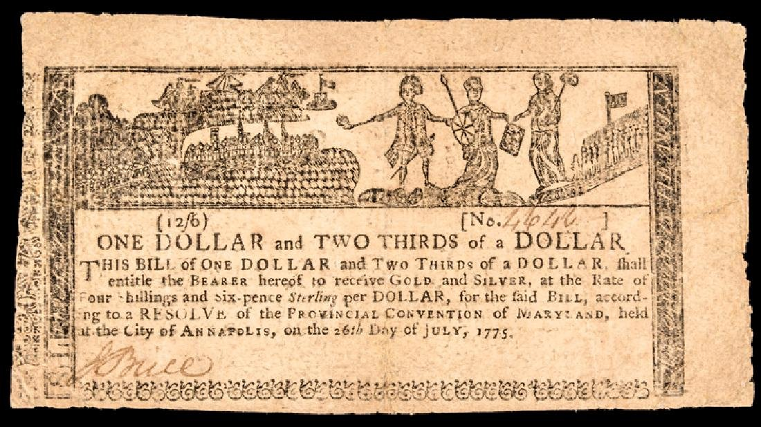 Colonial Currency MD July 26, 1775 Gunpowder Note