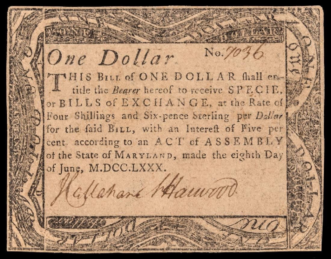 Colonial Currency, Maryland. June 8, 1780. $1