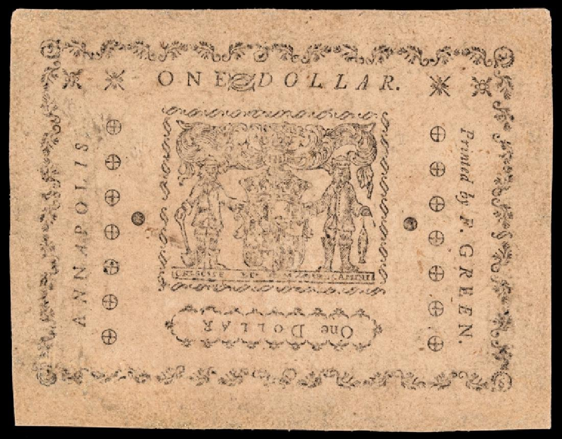 Colonial Currency, Maryland. June 8, 1780. $1 - 2
