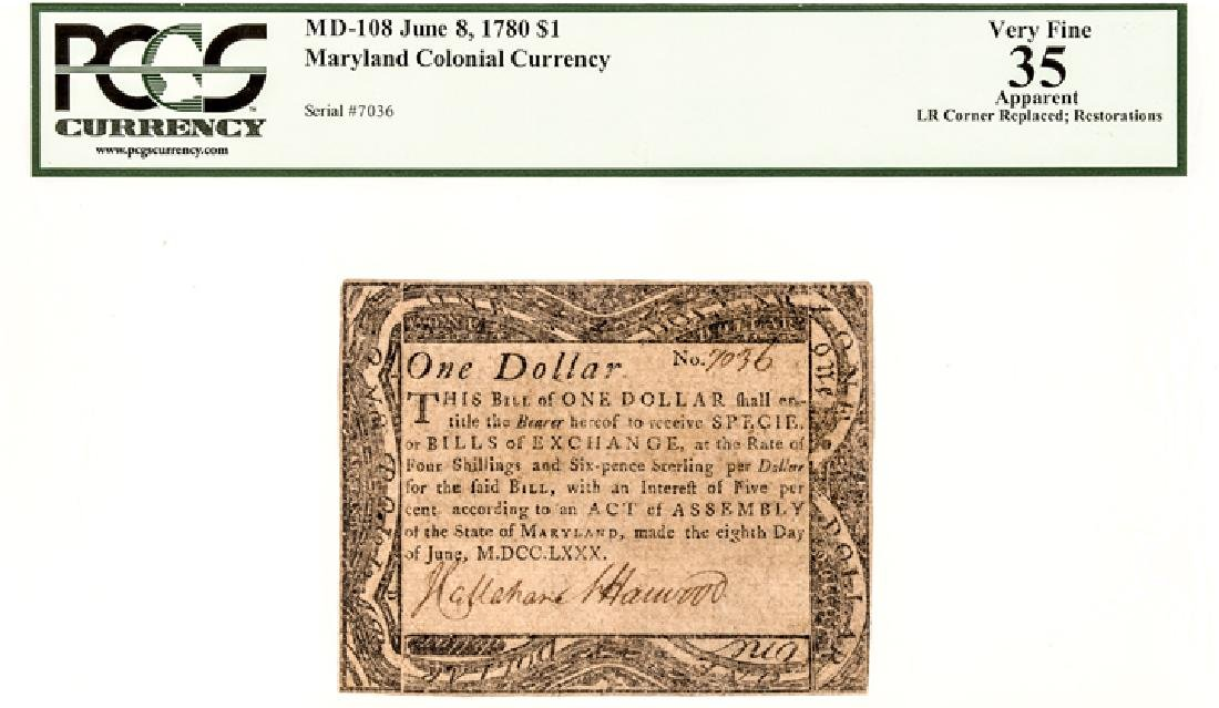 Colonial Currency, Maryland. June 8, 1780. $1 - 3