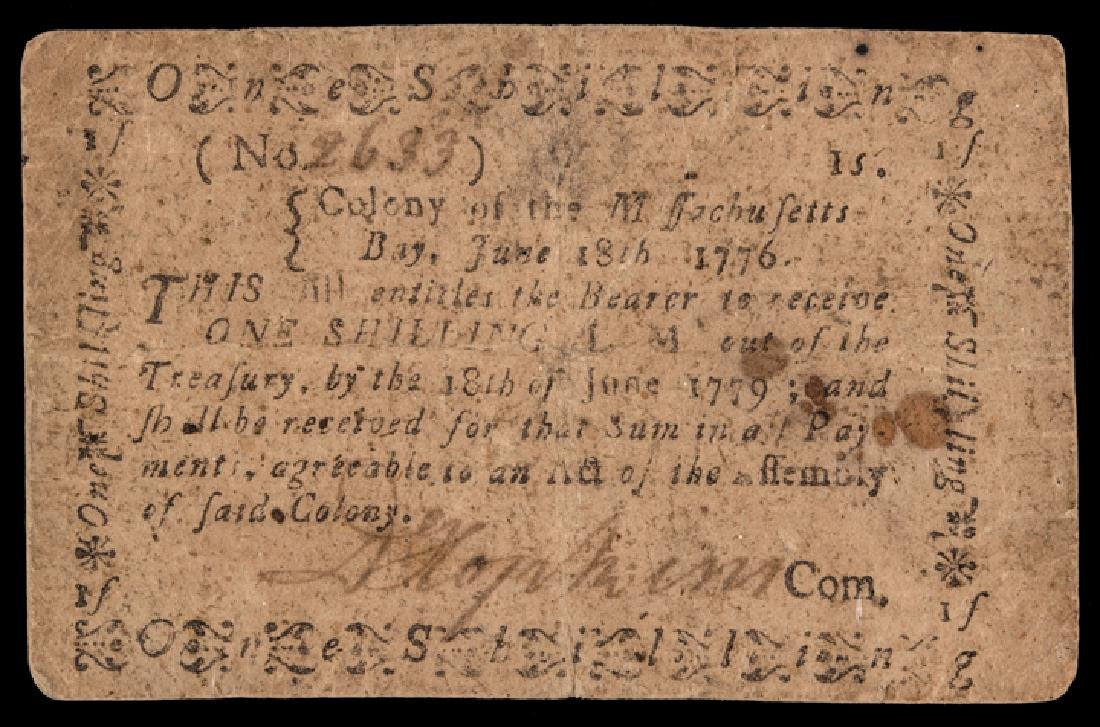 Colonial Currency, MA. June 18, 1776 1s PMG VF30