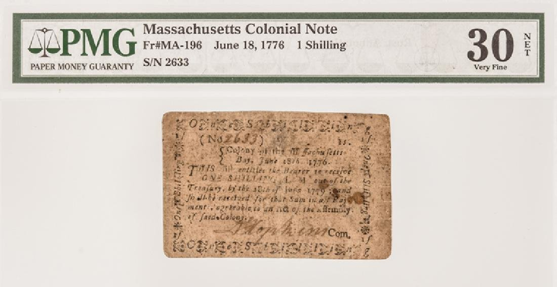 Colonial Currency, MA. June 18, 1776 1s PMG VF30 - 3
