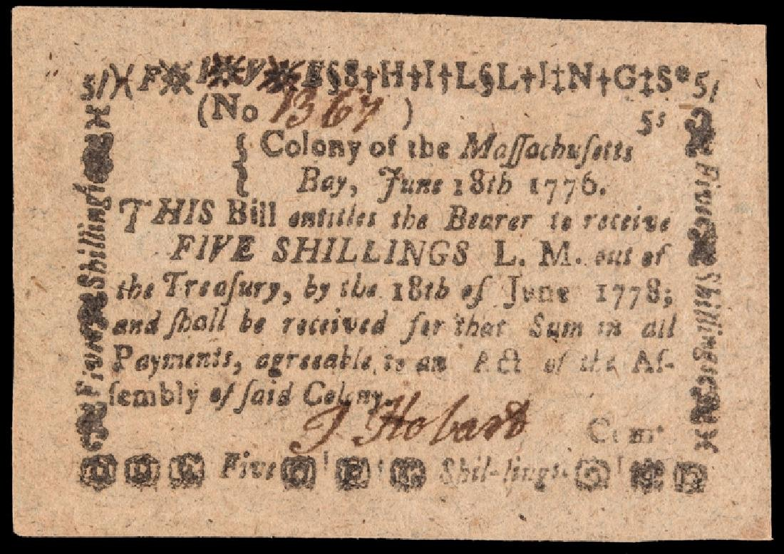 Colonial Currency, MA. June 18 1776 PMG AU-53 EPQ
