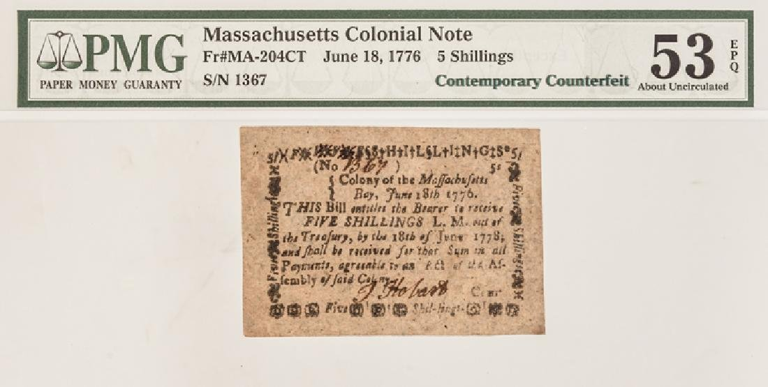 Colonial Currency, MA. June 18 1776 PMG AU-53 EPQ - 3