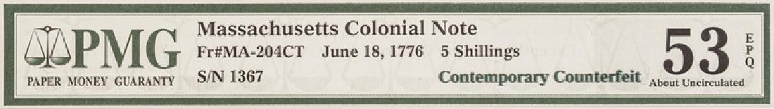 Colonial Currency, MA. June 18 1776 PMG AU-53 EPQ - 5