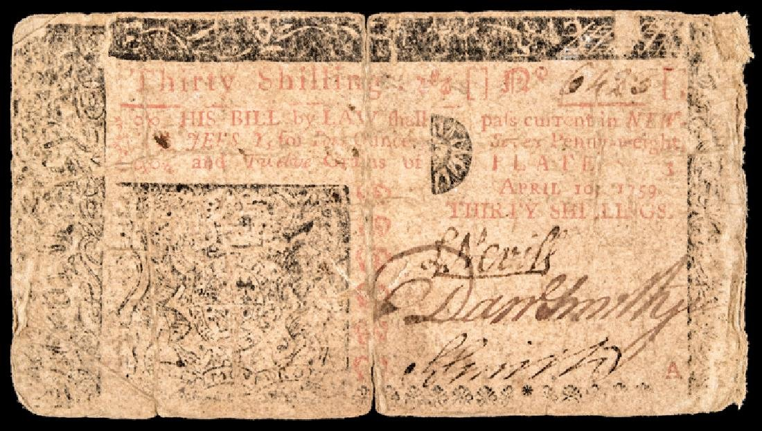 Colonial Currency, NJ April 10, 1759 30 Shillings