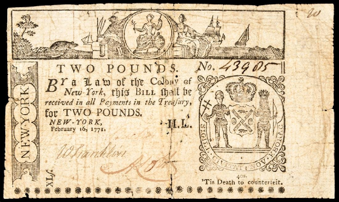 Colonial Currency Feb 1771 New York 2 Pounds Note