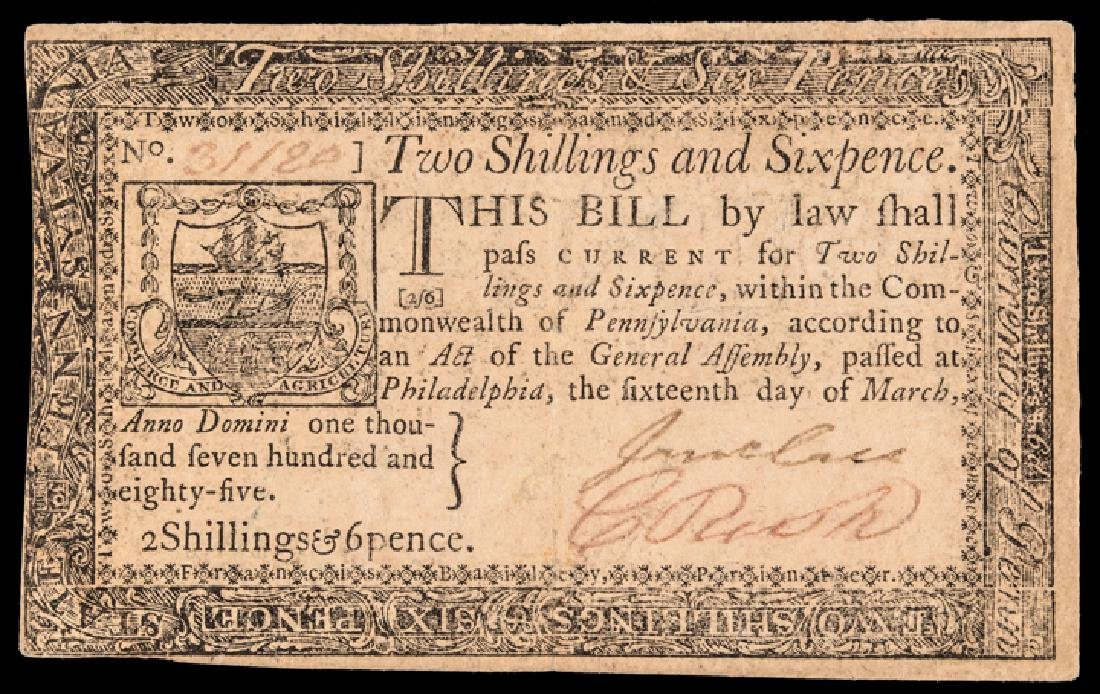 Colonial Currency, PA March 16, 1785 2s6d Ch. EF
