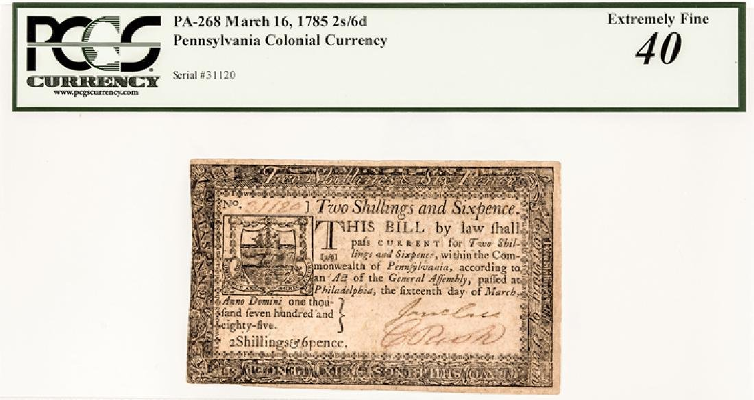 Colonial Currency, PA March 16, 1785 2s6d Ch. EF - 3