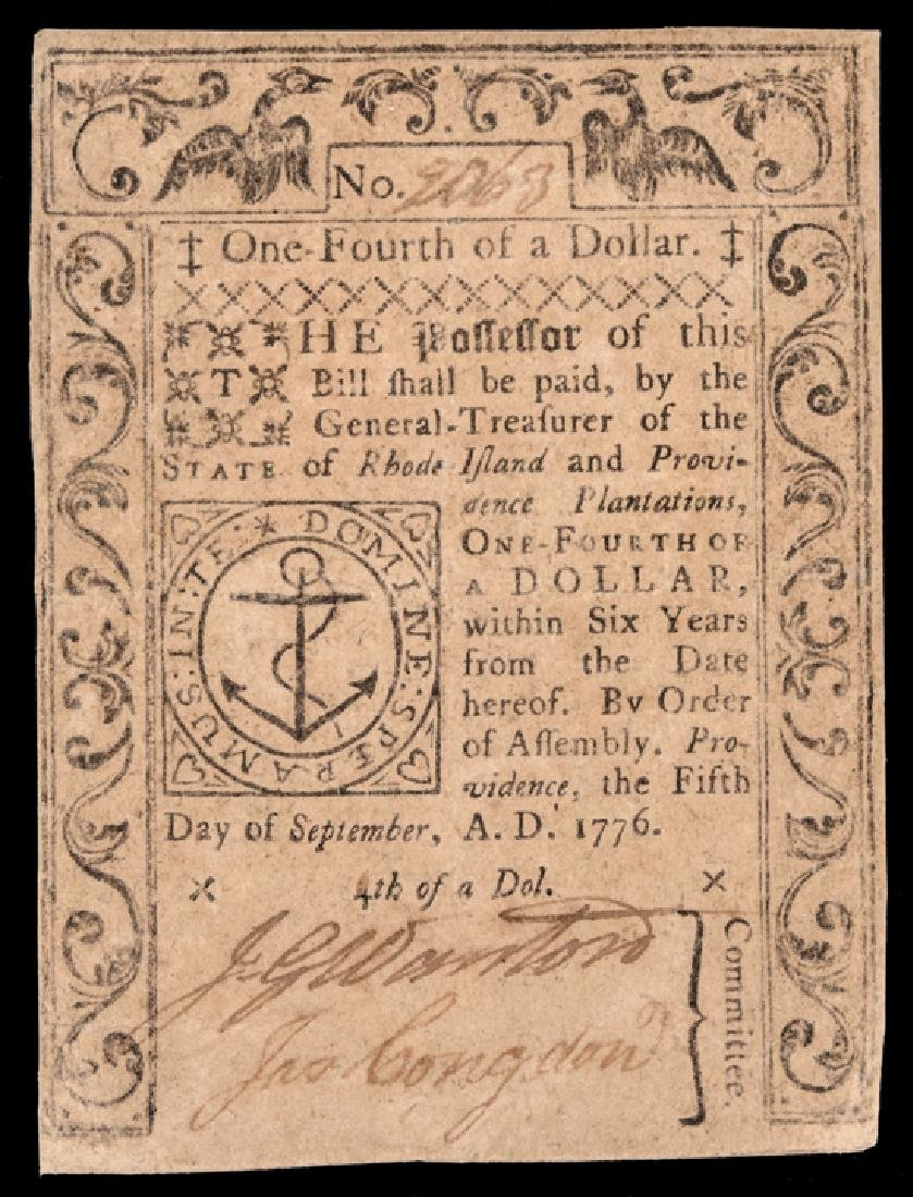 Colonial Currency RI Sept 5, 1776 $1/4 PMG VF 20