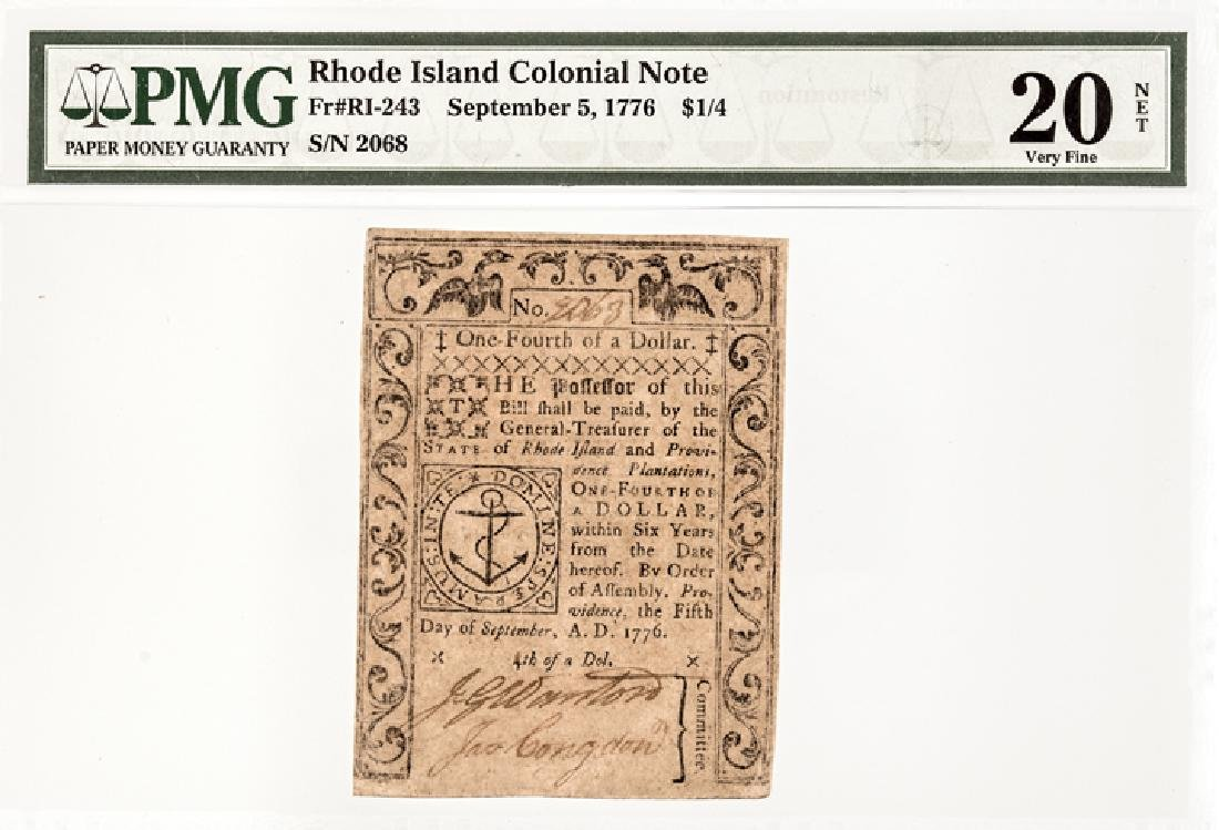 Colonial Currency RI Sept 5, 1776 $1/4 PMG VF 20 - 3