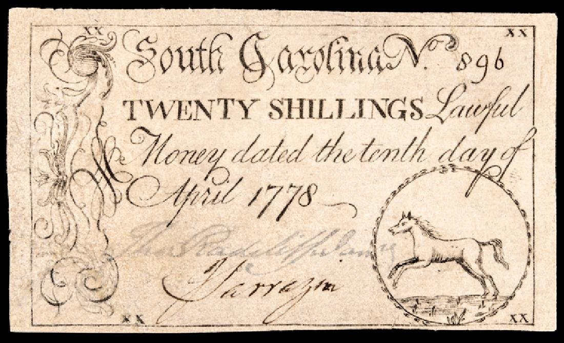 Colonial Currency, SC. April 10, 1778 20s Horse