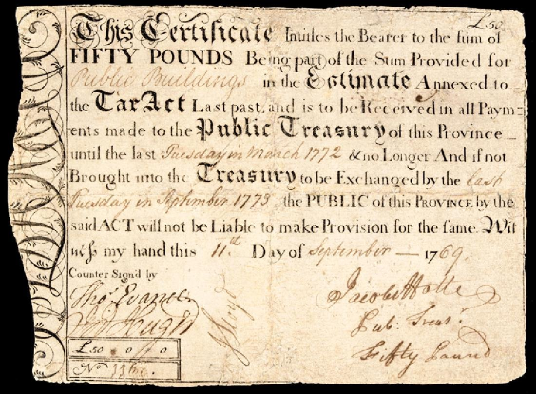 Colonial Currency SC 1750-69 Sept. 1769 50 Pounds