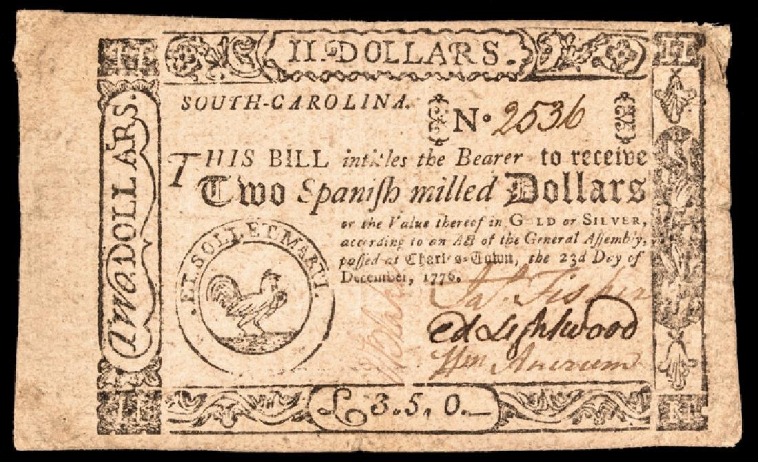 Colonial Currency, SC. 1776 $2 Signed + Issued !