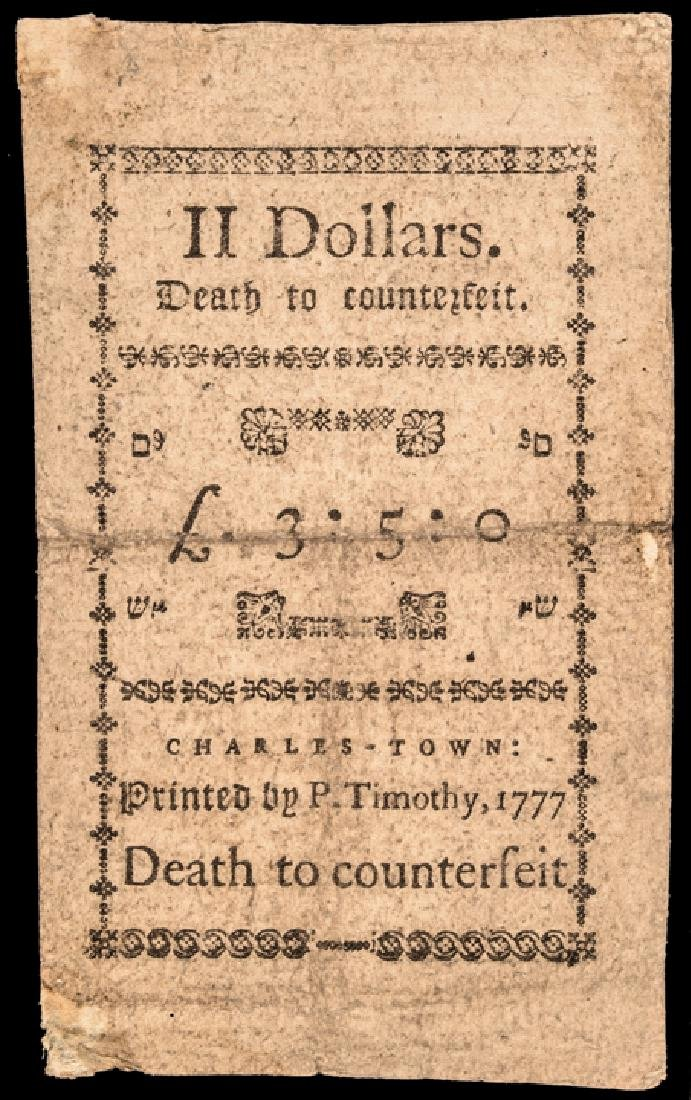 Colonial Currency, SC. 1776 $2 Signed + Issued ! - 2