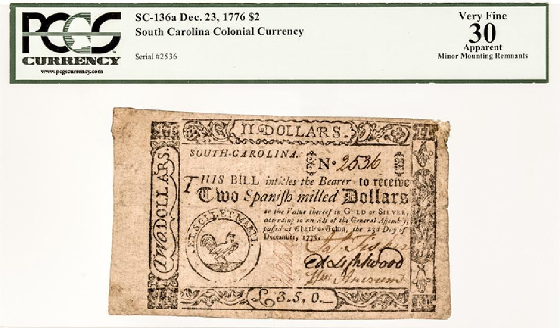 Colonial Currency, SC. 1776 $2 Signed + Issued ! - 3