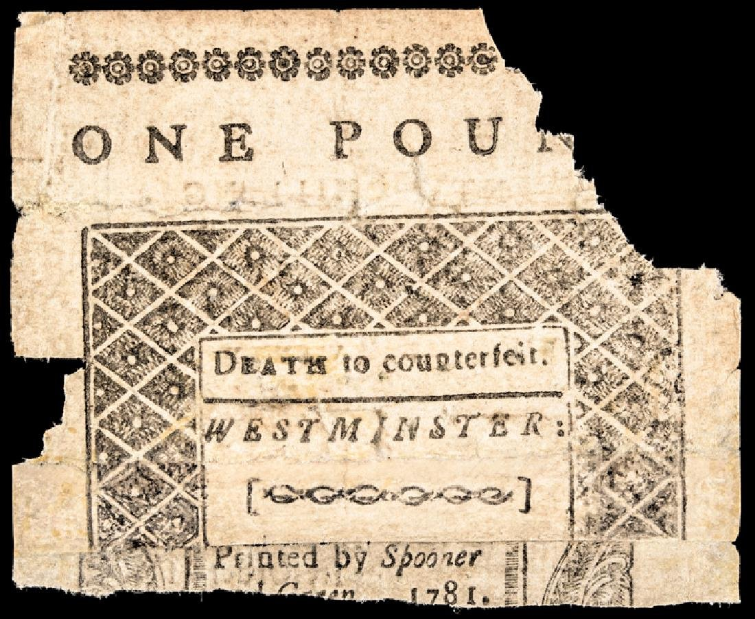 Colonial Currency, VT. February 1781 £1 Partial - 2