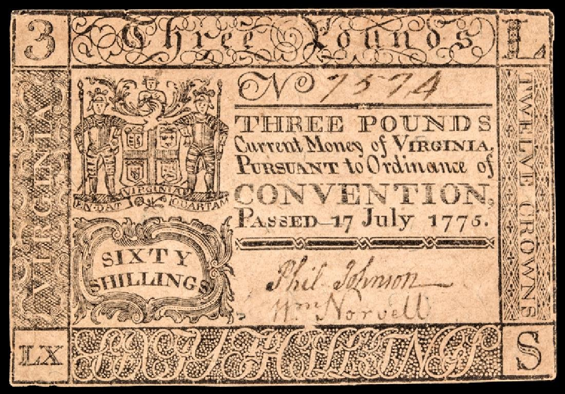 Colonial Currency, VA July 17, 1775 3 Pounds Note