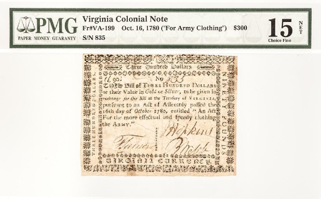 Colonial VA. 1780 $300 Clothing Army PMG Ch. F-15 - 3