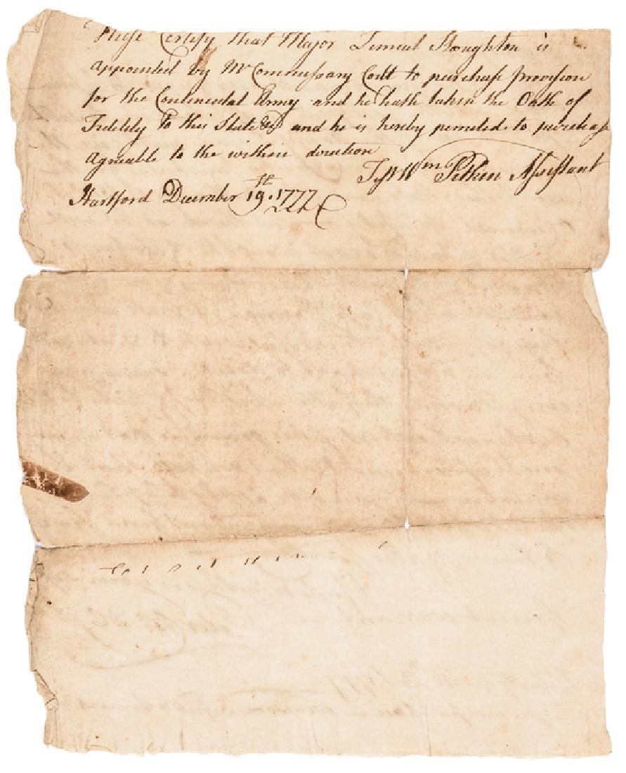 Dec. 1777 CT's Revolutionary War Army Provisions - 2
