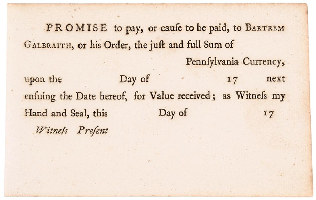 c 1777 BARTREM GALBRAITH Pay Order in PA Currency