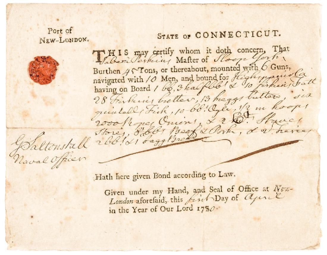 1780 Conn. Privateer Sloop YORK Naval Document