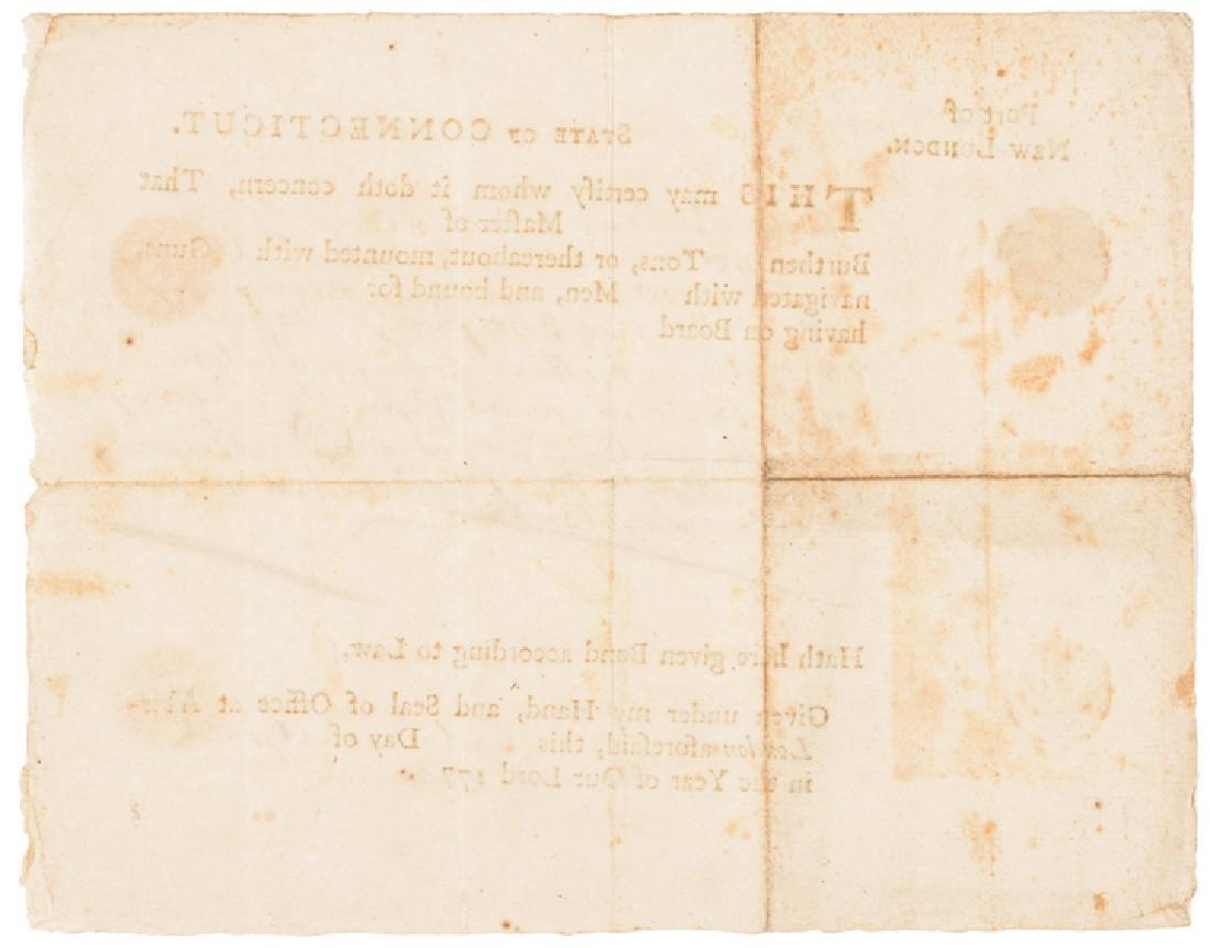 1780 Conn. Privateer Sloop YORK Naval Document - 2
