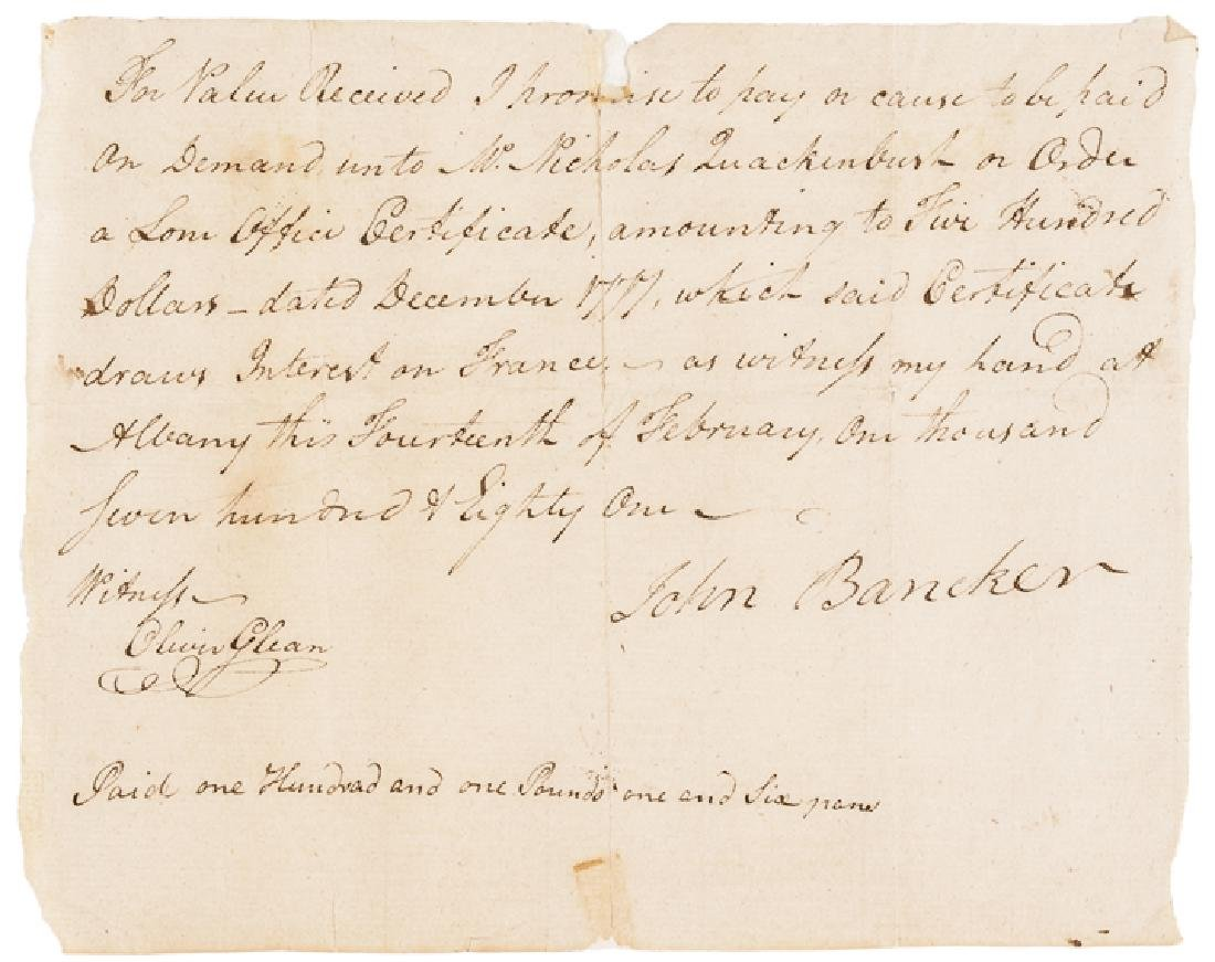 1781 Continental Loan Office Pay Not in Anderson