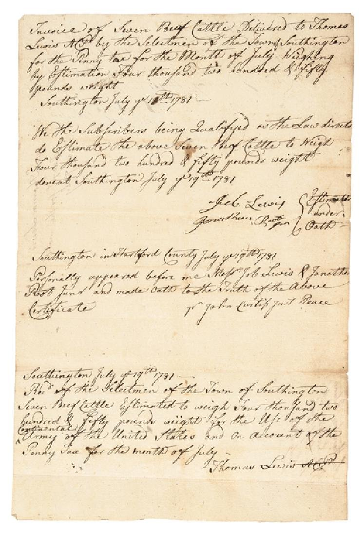 1781 Continental Army Get 7 Southington CT Cattle