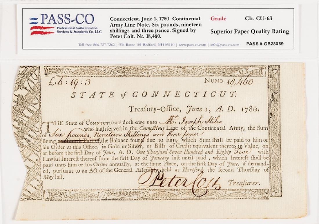 1780 Continental Army Service Connecticut Payment - 2